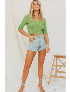 Inspiring Film Ribbed Knit Top // Olive by Vergegirl