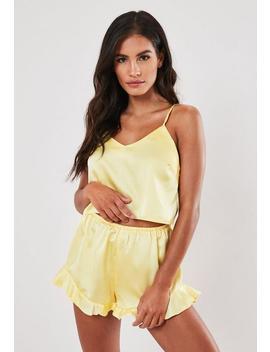 Yellow Satin Cami Frill Short Pyjama Set by Missguided
