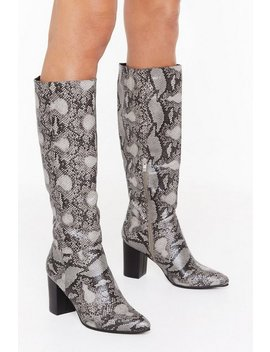 Snake It Count Heeled Knee High Boots by Nasty Gal