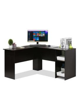 Indo Espresso L Shaped Desk With Bookshelves by Furinno