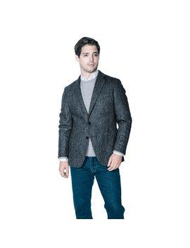 Unstructured Wool Blazers   Grey Herringbone Tweed Jacket by Peter Manning