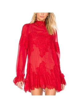 Nwt Red Lace & Chiffon 'queen 4 A Day' Mini DressNwt by We Are Hah