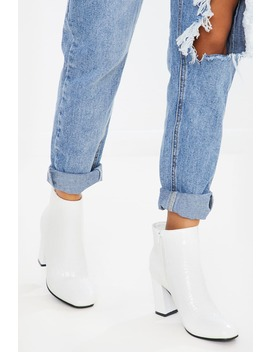 Orobella White Patent Heeled Ankle Boots by In The Style