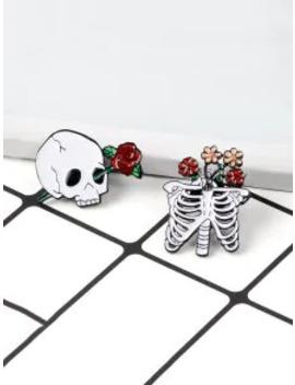 Popular Skeleton Floral Brooch Set   White by Zaful