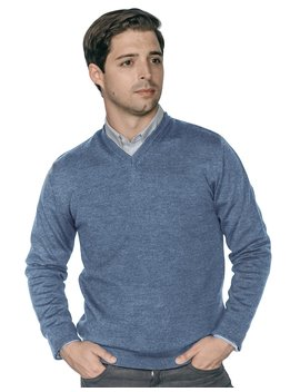 Zegna Merino Wool V Neck Sweaters   Slate Blue by Peter Manning