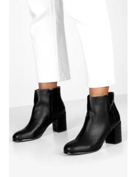 Croc Panel Block Heel Shoe Boots by Boohoo