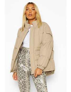 Funnel Neck Pocket Detail Puffer by Boohoo