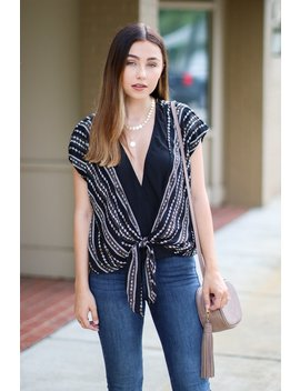 Hall Of Fame Printed Surplice Top by Madison + Mallory