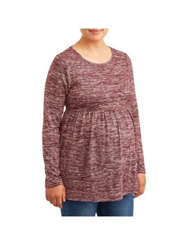 Time And Tru Maternity Knit Top Long Sleeve Peplum by Time And Tru