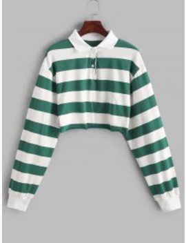 Hot Sale Contrast Striped Crop Half Button Sweatshirt   Multi A S by Zaful