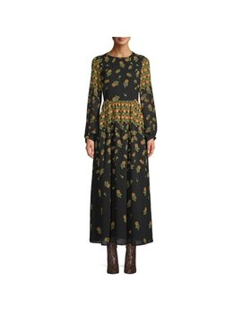Scoop Blouson Sleeve Maxi Dress Floral Print Women's by Scoop