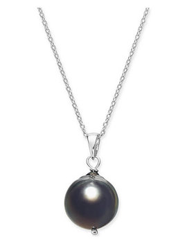 "Cultured Baroque Black Tahitian Pearl (11mm) 18"" Pendant Necklace In Sterling Silver by General"