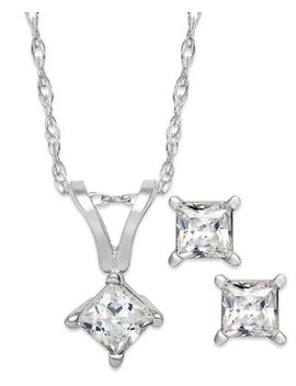 Princess Cut Diamond Pendant Necklace And Earrings Set In 10k White Gold (1/10 Ct. T.W.) by General