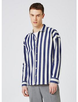 Blue And White Block Stripe Overshirt by Topman