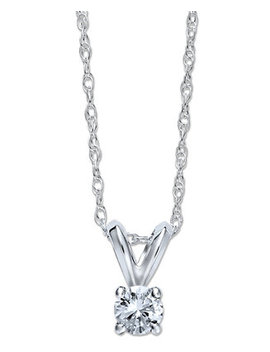 Round Cut Diamond Pendant Necklace In 10k White Gold (1/6 Ct. T.W.) by General