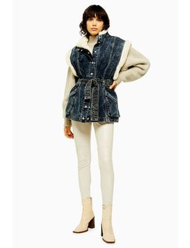 Idol Indigo Denim Borg Lined Oversized Gilet by Topshop