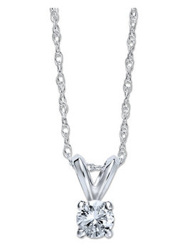 Round Cut Diamond Pendant Necklace In 10k White Or Yellow Gold (1/4 Ct. T.W.) by General