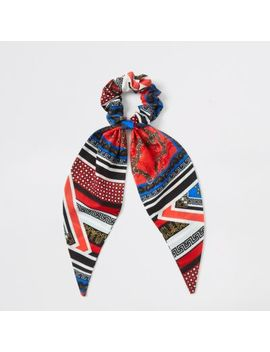 Girls Blue And Red Scarf Print Scrunchie by River Island