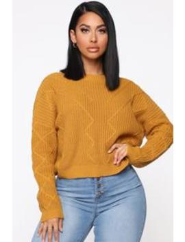 On A Break Sweater   Mustard by Fashion Nova