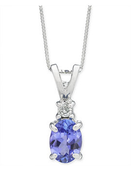 "Tanzanite (1 Ct. T.W.) & Diamond Accent 18"" Pendant Necklace In 14k White Gold by General"