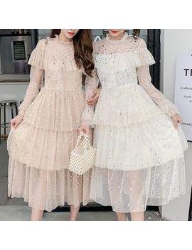 Deedlit   Star Long Sleeve Tiered Mesh Dress by Deedlit