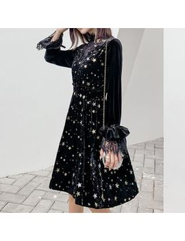 Glacia   Long Sleeve Star Pattern Velvet A Line Dress by Glacia