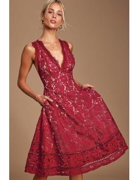 Kiss Kiss Burgundy Lace Sleeveless Midi Dress by Lulus