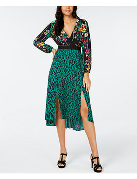 Surplice Mixed Print Dress, Created For Macy's by General