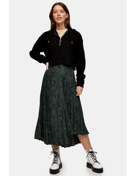 Khaki Smudge Animal Pleated Skirt by Topshop