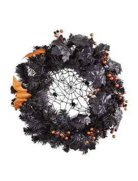 """24"""" Halloween Spider Web &Amp; Bats Wreath by Pier1 Imports"""