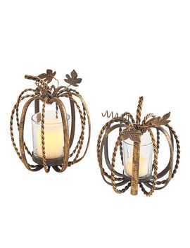 Twisted Bronze Pumpkin Tealight Candle Holders by Pier1 Imports