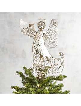 Gold Glittered Angel Tree Topper by Pier1 Imports