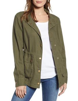 Cinch Waist Linen Blend Utility Jacket by Caslon®
