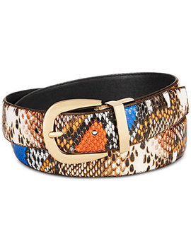 Multi Colored Faux Leather Python Belt by General