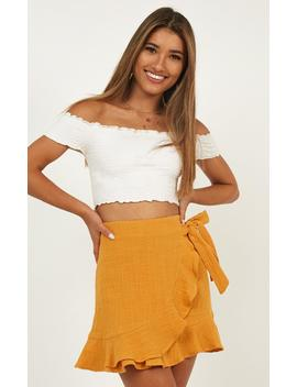Over And Under Skirt In Mustard Linen Look by Showpo Fashion