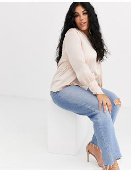 Asos Design Curve Long Sleeve Blouse With Frill Collar Detail by Asos Design