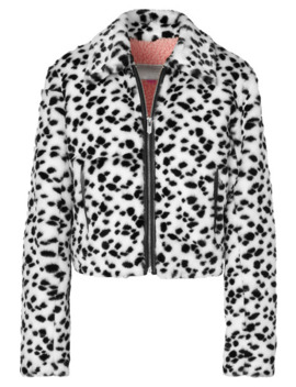 The Hamilton Leather Trimmed Animal Print Faux Fur Jacket by The Mighty Company