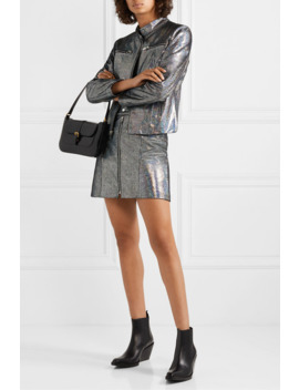 The Ripon Metallic Coated Suede Mini Skirt by The Mighty Company