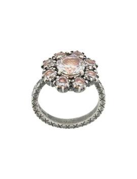 Brown Cubic Zirconia Jewel Encrusted Ring by Bottega Veneta