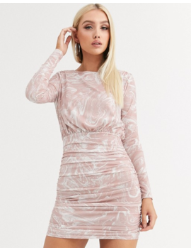 Asos Design Marble Print Long Sleeve Slinky Ruched Mini Dress by Asos Design