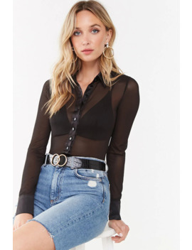 Sheer Combo Bodysuit by Forever 21