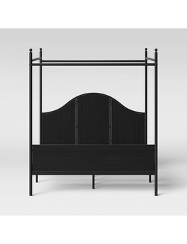 Southwick Farmhouse Queen Size Metal Bed With Wood Panel And Canopy Black   Threshold by Threshold