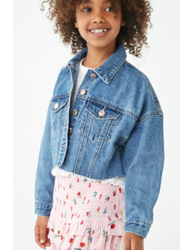 Girls Raw Cut Denim Jacket (Kids) by Forever 21