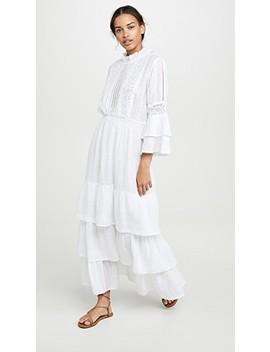 Linen Crew Neck Bell Sleeve Dress by Temptation Positano