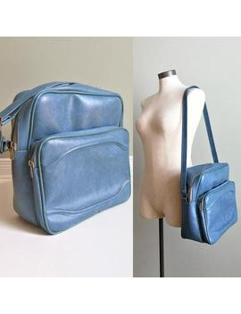 Vintage 70s Blue Vinyl Carry On Travel Tote Bag   Retro Luggage Suitcase Overnight Shoulder Bag   Tablet Holder School Bag by Etsy