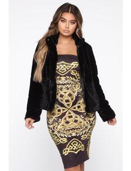 I'm Good Faux Fur Jacket   Black by Fashion Nova