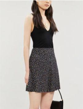 Flounce Polka Dot Print Crepe Mini Skirt by Reformation