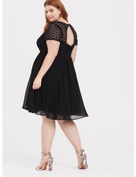 Black Crochet & Chiffon Skater Dress by Torrid