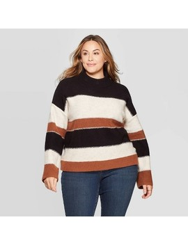 Women's Plus Size Striped Long Sleeve Mock Turtleneck Pullover Sweater   Universal Thread by Universal Thread