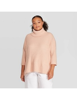 Women's Plus Size 3/4 Sleeve Turtleneck Pullover Sweater   Prologue by Prologue